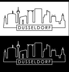 dusseldorf skyline linear style editable file vector image vector image
