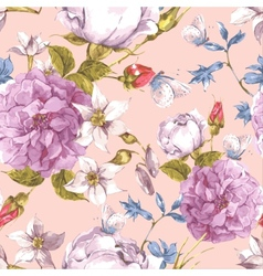 Floral Seamless Vintage Background with Roses vector image vector image