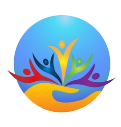 Happy people protecting the world logo vector image