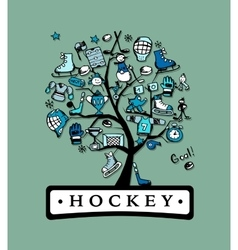 Hockey concept tree sketch for your design vector image vector image