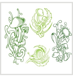 Mushrooms design for tattoo vector image