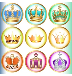 set of crowns with precious stones vector image vector image
