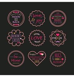 Valentines day line emblem set on black background vector image vector image