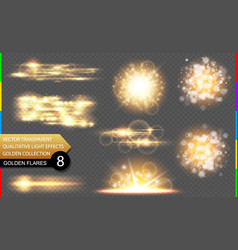 abstract golden special light effect set vector image vector image
