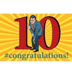 Congratulations 10 anniversary event celebration vector image vector image