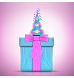 Holiday Design With Gift and Party Hat vector image
