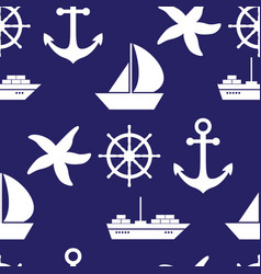 seamless pattern with sea symboles marine vector image vector image