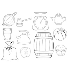 set of kitchen objects and foods vector image vector image