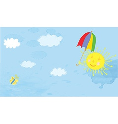 Sun and sky funny banner vector image