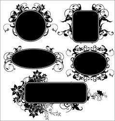 black floral frames vector image vector image