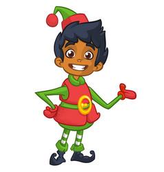 cute happy dwarf santa helper presenting vector image