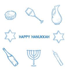 hand drawn sketch hanukkah elements set vector image
