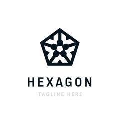 hexagon corporate logo design business company vector image