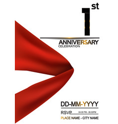 1 anniversary design with big red ribbon isolated vector