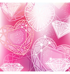 Abstract pink background with linear diamonds vector image vector image
