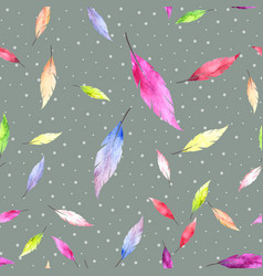Abstract seamless pattern with colorful feathers vector