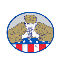 American soldier praying drawing color vector