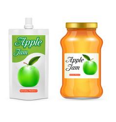 Apple jam packaging realistic mockup set vector