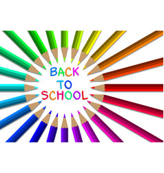 back to school with colorful pencils vector image