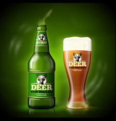 beer template green bottle and beer glass vector image