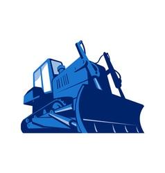 Bulldozer front retro vector