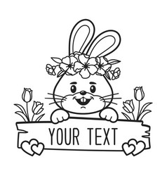 bunny split monogram face frame vector image