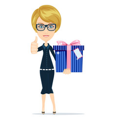 Business woman holding a big gift box for vector