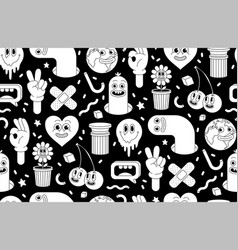 Cartoon characters background seamless pattern vector