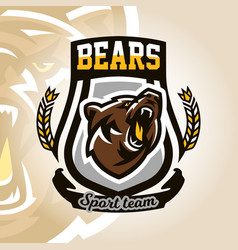 Colorful logo emblem growling bear grizzly vector