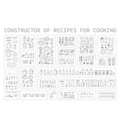 Cooking instruction icons different food vector