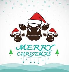 Cow merry christmas vector
