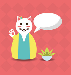 Cute animal cat with kimono design vector