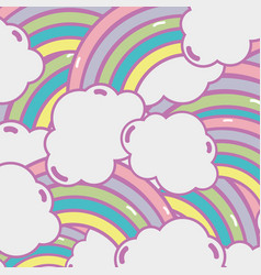 Cute rainbow with clouds background design vector