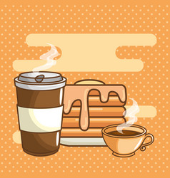 delicious coffee time elements vector image