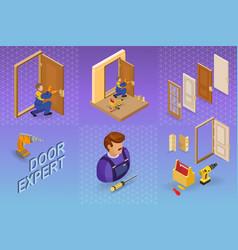 door installing service isometric concept worker vector image
