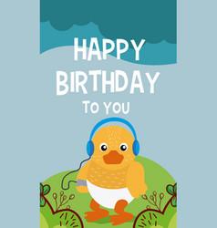 duck cute animal birthday card vector image
