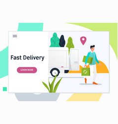 express delivery man holding a packageorder vector image