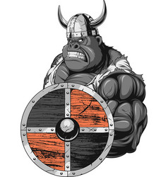 Fierce gorilla viking vector