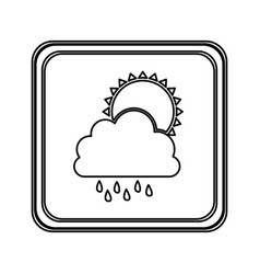 figure emblem cloud rainning with sun icon vector image
