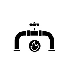 gas pipeline black icon sign on isolated vector image