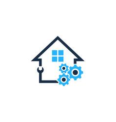 Gear house logo icon design vector