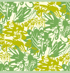Green grass and wild flowers seamless pattern vector