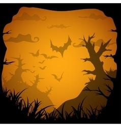 Halloween yellow spooky frame border with death vector