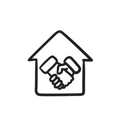 Handshake and house sketch icon vector