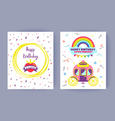 happy birthday little princess celebration card vector image