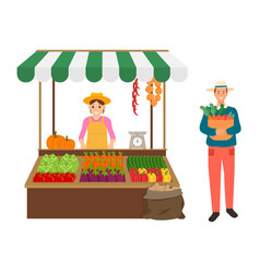 Harvesting and selling organic products on market vector