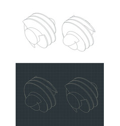 Helical inducer isometric drawings vector