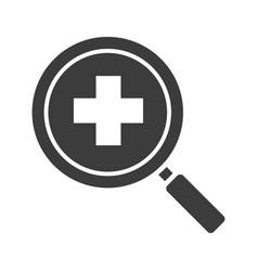 Hospital search glyph icon vector