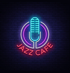 Jazz cafe is a neon sign symbol neon-style logo vector