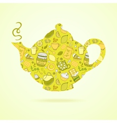 Kettle with tea pattern isolated background vector
